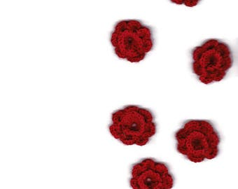 6  dark red crocheted flowers