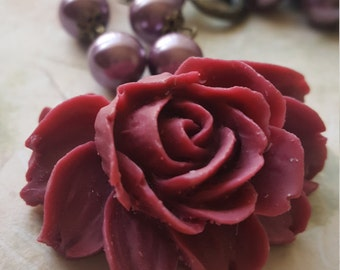 "Vintage inspired brass rose pendant necklace with maroon faux pearls. ""My Lovely Rose."""