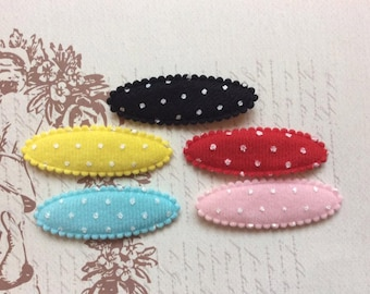 SET of 25 Padded Felt Polka Dotted Hair Clip Cover/Bow Appliques/trim/ Pink/Blue/Yellow/Red/Black