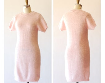 vintage pale pink mohair sweater dress / size small
