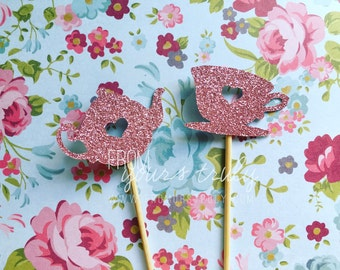 Glitter Teapot & Teacup Cupcake Toppers  (Pk of 20)