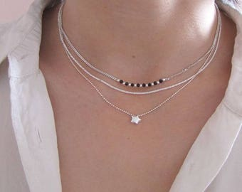 Necklace three row Sterling Silver Star