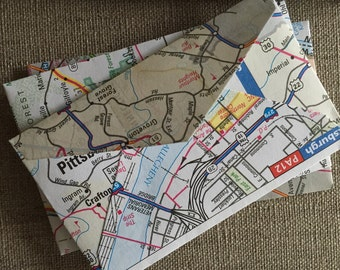 """25 Mini Road Map Envelopes--US Road Atlas Mini Envelopes--United States Road Atlas Envelopes--Size 2 1/4"""" x 3 1/2""""--Upcycled Map Envelopes"""