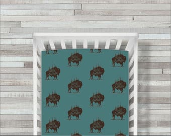 Buffalo Crib Sheet, Fitted Crib Bedding, Buffalo Crib Bedding, Toddler Crib Sheet, Buffalo & Buck