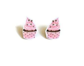 Pink Cupcake Earrings, Chocolate Cup Cake Stud Earrings, Baking Jewellery