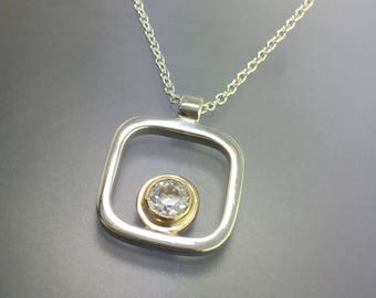 Diamond or Moissanite 14kt Yellow Gold and Sterling Silver square Pendant, wedding jewelry, diamond Pendant, available in different sizes.