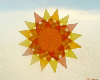 Sun Window Transparency - Spring Summer Mandala Suncatcher Window Star Decoration - Waldorf Inspired