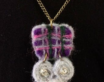 Tartan purple fo-symmetry felted necklace by lalabuds - Rebecca Carr