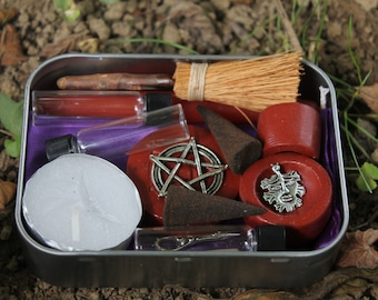 Pagan altar kit, pocket altar box, travel altar, portable altar kit, wiccan altar kit, pagan altar set, starter set for your wiccan supplies