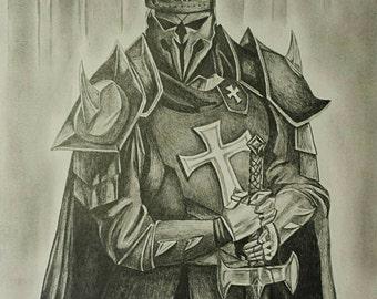 Medieval Templar Knight--Drawing