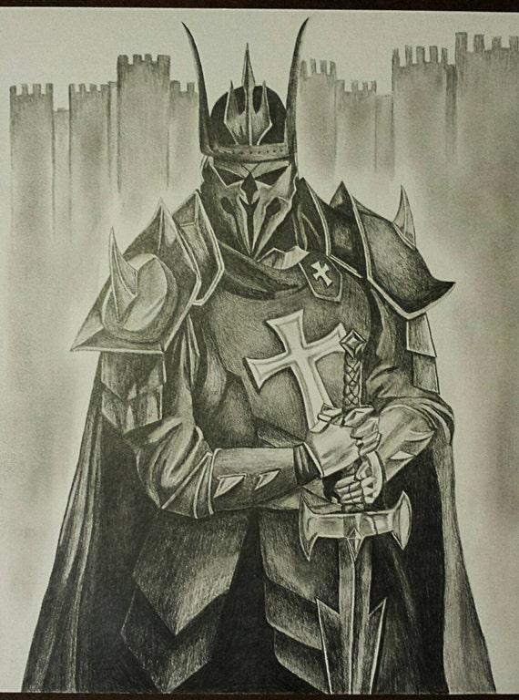 Medieval Templar KnightDrawing