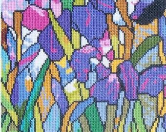Magnolia and Irises, Tiffany Glass Reproduction--LB08245