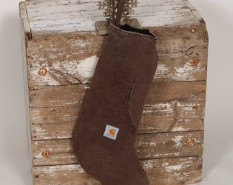 Christmas Stocking - Upcycled Brown CARHARTT Canvas - Guys, Gals, Men, Farmer, Hunter or Outdoorsman