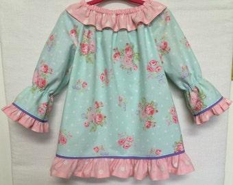 Easter Dress, Baby Girl Dress, Little Girl Dress, Pink Floral Aqua Dress, Easter 3/4 Sleeve Dress, Childs Dress, Baby Dress, Toddler Dress