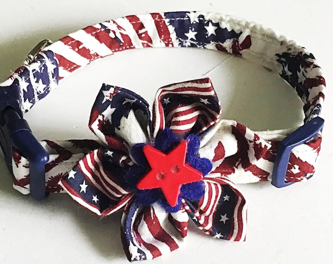 Featured listing image: Patriotic Flag Collar with Matching Flower for Girl Dog or Cat