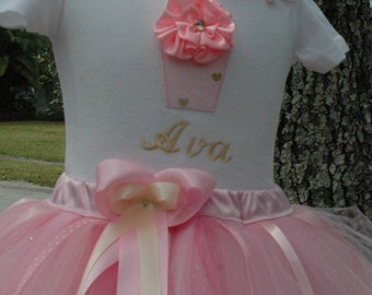 Baby Girl 1st Birthday Outfit, Pink and Gold Cupcake 1st Birthday Outfit, Cupcake 1st Birthday Tutu Outfit, Sewn Tutu, Includes Bow, Pink