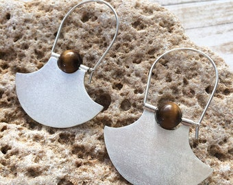Sterling silver tribal  hoop earrings - dangle and drop - geometric earrings - tiger eye stone - ethnic earrings