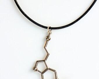 Silver Serotonin Leather Molecule Necklace, Chemistry Necklace, Hormone Leather Biochemistry Molecule Happiness Signal Pendant Biology