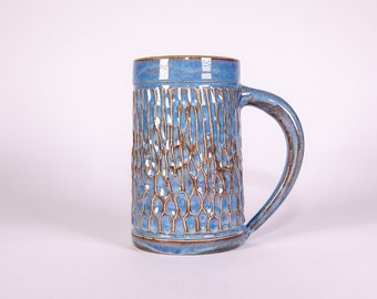 Pottery Coffee mug, Hand Carved Textured Pottery Mug in Blue