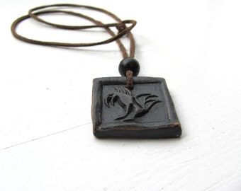 Black Eagle------Ceramic Necklace---Unisex---leather strap-jewelry