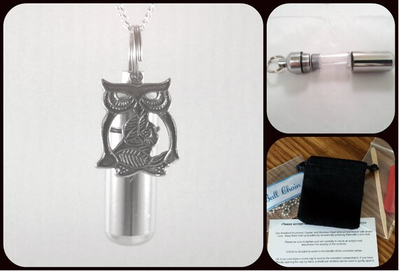 "Complete Set - Wise OWL Cremation Urn on 24"" Necklace  - Custom Hand Assembled.... with Velvet Pouch and Fill Kit"