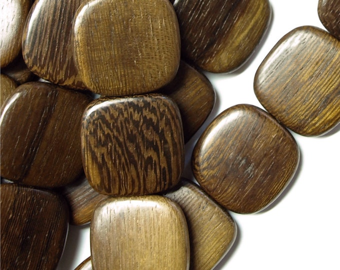 Wood Bead, Flat Square 25mm, Robles - 8 Inch Strand (WDSQ-25RB)