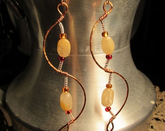 Hammered Copper Plated Dangle Earrings with Citrine Stones and Glass Beads, Bohemian, Handmade, Wire Wrapped