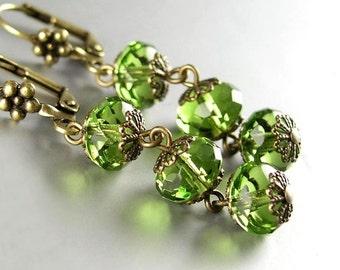Olive Green Drop Earrings Antique Gold Leverback Earrings Bohemian Artisan Glass Earrings Vintage Style Olive Green Dangle Drop Earrings