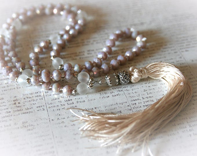 Long Bohemian Tassel  Necklace. Modern Boho Chic Jewelry. Mix of White, Cream, Ivory, Beige Colors.