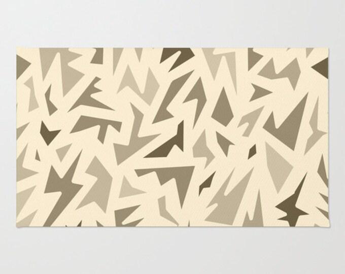 Brown Floor Rug - Door Rug - Abstract Shades of Brown - Bathroom Rug  - Original Art - Throw Rug - Brown ZigZag - Made to Order