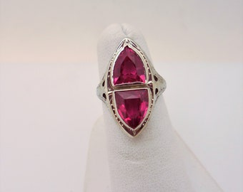 Victorian  White Gold Filigree Ruby Ring
