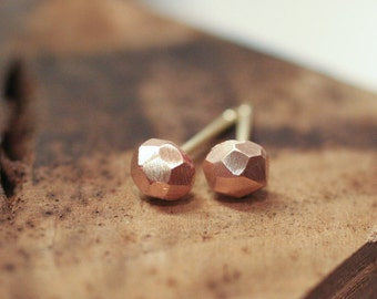 14k Rose Gold Faceted Stud Earrings