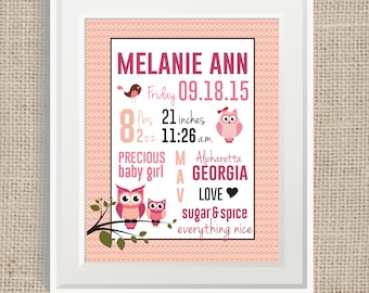 Baby birth stat sign, nursery decor, owls, new baby sign - DIGITAL FILE ONLY