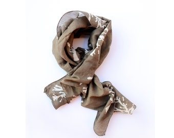 Scarf SAMPLE SALE For Women, Gift, cotton silk blend, Brown - Hand Block Printed Hand dye natural dye - TREE