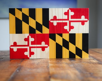 Maryland Flag Printed on Rustic Wood