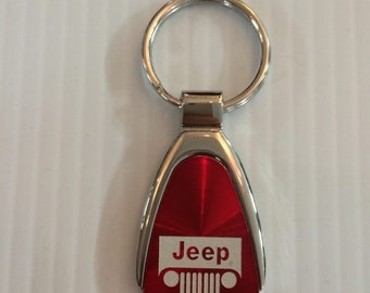Jeep Grill Keychain & Keyring Teardrop - Red