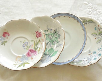 Royal Standard Mismatched Saucers, Set of 4, English China Tea Party, Wedding, Cottage Chic, Vintage, Replacement China