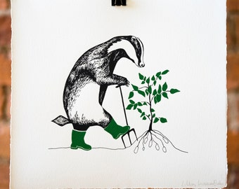 Gardening Badger. (Lifting Potatoes) Original Silk Screen Print.