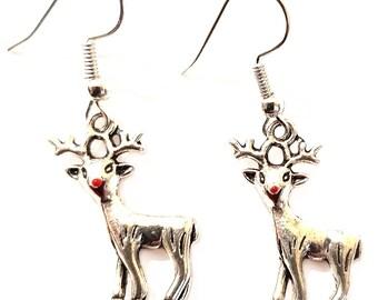 Christmas earrings, Rudolf the Reindeer, Reindeer earrings, red nose earrings, festive earrings, Christmas jewelry, festive jewelry