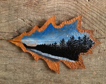 Crescent Drive | Leaf Art | Natural Canvas Art | Moon | Leaf Painting | Silhouette |