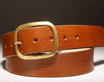 Brown  Leather belt with Brass Buckle - Handmade in USA Groomsmen Wedding