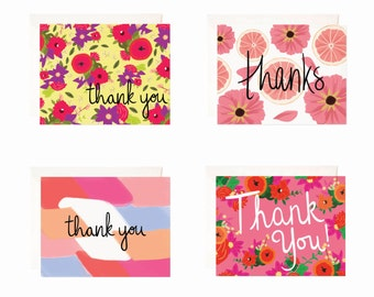 Assorted Thank You Boxed Set, Thank You Greeting Cards, 8 pack Stationery Thank You Set