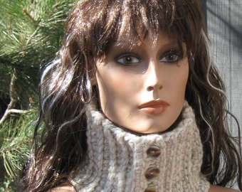 Ecru/Cream/Natural Colored Ribbed Neckwarmer/Cowl/Scarflette Chunky Crocheted Wool Blend