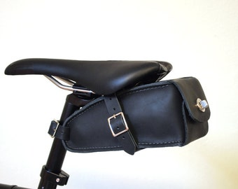 HAND MADE in USA Bicycle Wedge Bag, Black Leather