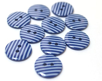 Dark blue and white striped 2 hole buttons. 15mm. Pack of 10