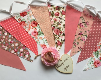 3m Pretty Mixed Coral & Pinks Fabric Wedding Bunting Various Sizes Available