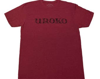 Uroko Scale Typeface - Men's T-shirt - Burgundy -Cardinal Red - Scales - Waves - Fish - Typography - Brand logo - limited - by uroko