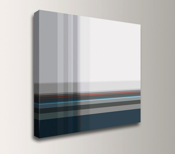 "Minimalism - Navy Blue and Light Grey Canvas Print - Modern Art - "" Equivalent """