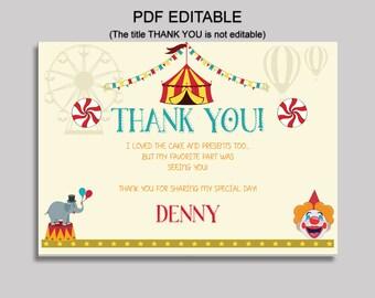 Circus Thank You Card Circus Birthday Thank You Red Orange Editable Circus Printable Thank You Boy Girl circus themed party VU2JL