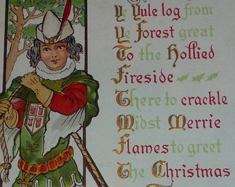 Huntsman Bringing Home a Yule Log Antique NASH Christmas Postcard